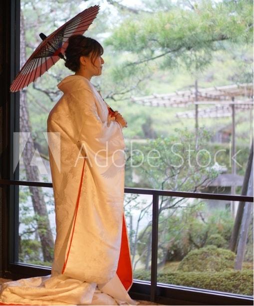 京都の街並みで白無垢で前撮り