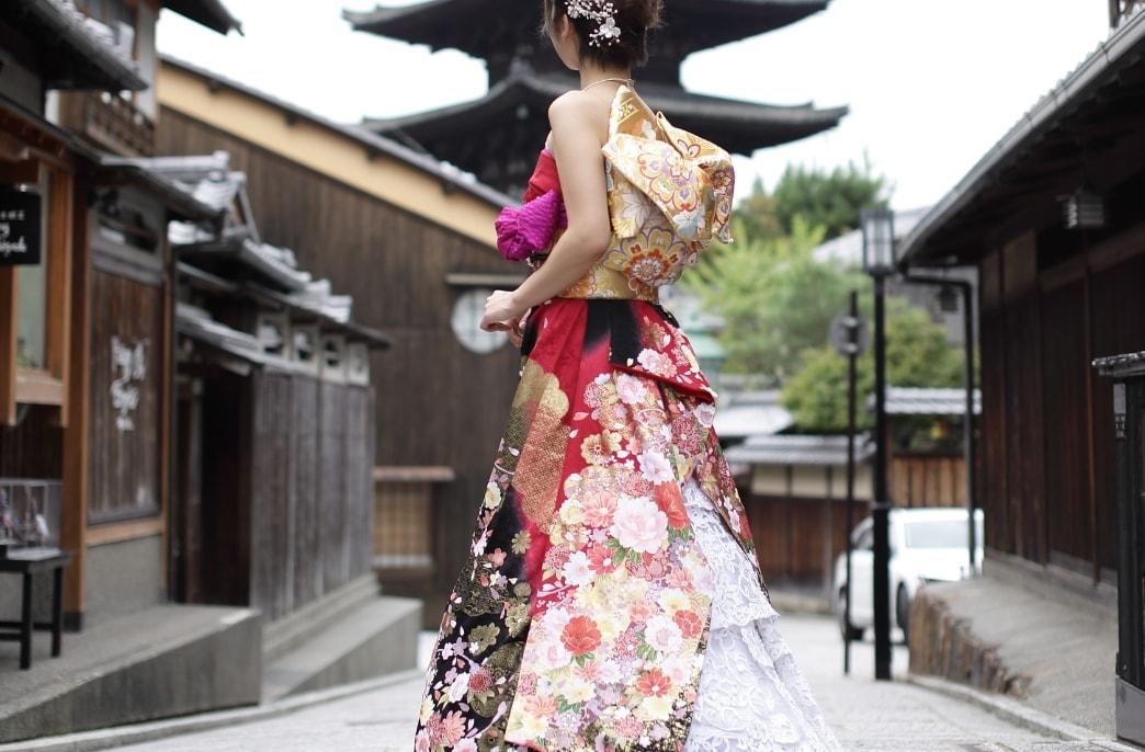 成人記念に京都清水寺周辺で振袖撮影
