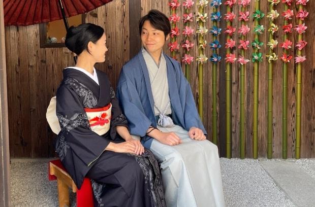 女性ヘアセット付きのカップル着物レンタル